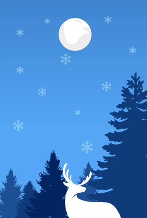 Christmas postcard. Greeting card. Background. Night sky, forest, snowflake, star, moon and deer