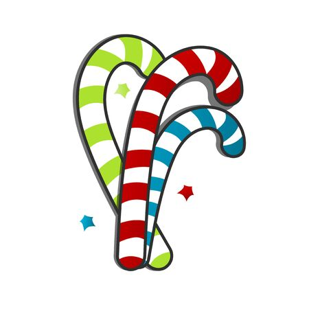 christmas candy cane flat vector illustration