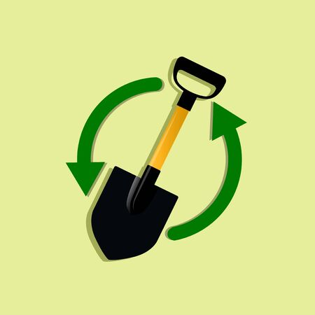 shovel vector illustration with two shape arrow