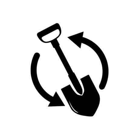 shovel silhouette vector illustration with two shape arrow