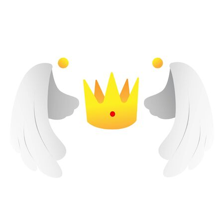 Golden crown with two wings vector illustration