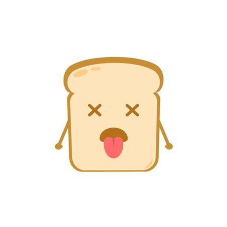 Funny cute bread character. Vector flat bread character feel nausea. isolated on white background. Bread character concept
