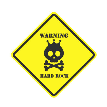 Square yellow sign. Hard rock sign isolated on white background. Vector, Illustration Stock Illustratie