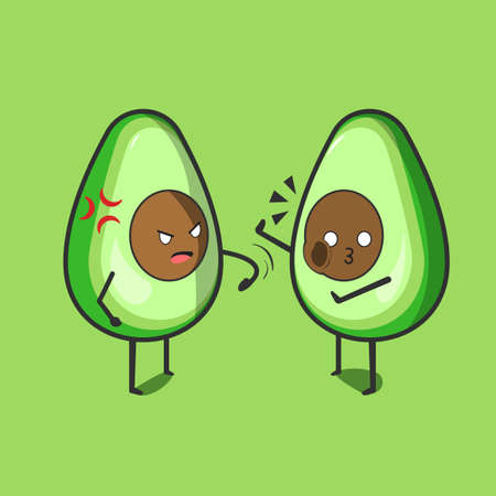 Funny cute avocado character. Two Vector flat avocado cartoon character slap the others avocado. Isolated on green background. Avocado fruit concept