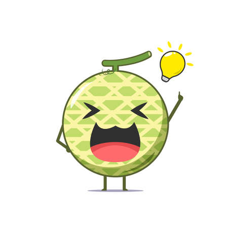 Cute melon character got an idea isolated on white background. Melon character emoticon illustration Vectores