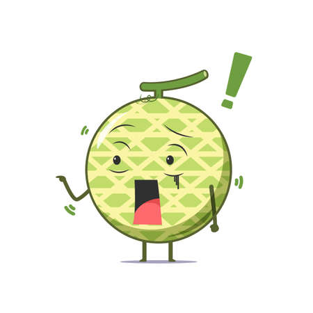 Cute melon character got shocked isolated on white background. Melon character emoticon illustration Vectores