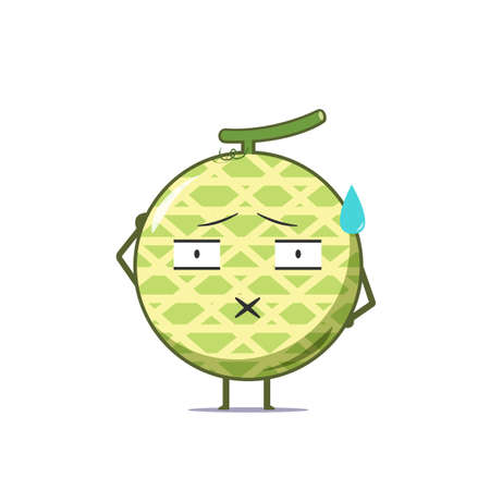 Cute melon character speechless isolated on white background. Melon character emoticon illustration