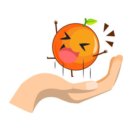 Cute Orange character jumps on the hand isolated on white background. Orange character emoticon illustration
