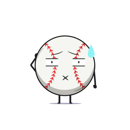 Cute baseball character speechless isolated on white background. Baseball sport character emoticon illustration Illustration