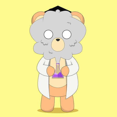 Teddy bear character. Teddy bear was hit by an explosion. Cute character. Sticker.