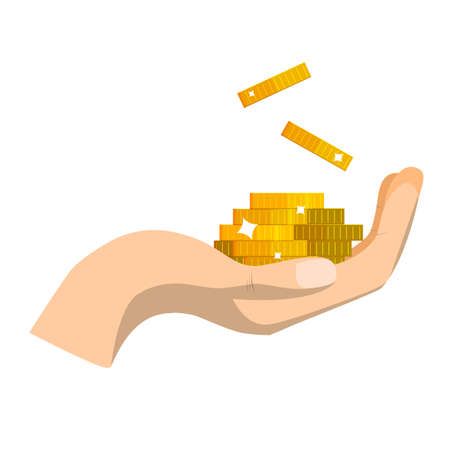 Gold coin in hand. Concept of charity, donate. Stack of coins. Giving or receiving take money. Vector illustration flat design