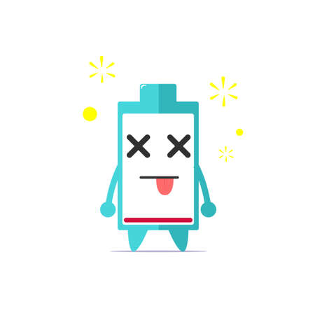 Cute battery life character get dizzy cause of empty power isolated on white background. Battery life character emoticon illustration