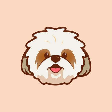 Cartoon illustration of shih tzu cute face. Vector illustration of shih tzu dog Vector Illustration