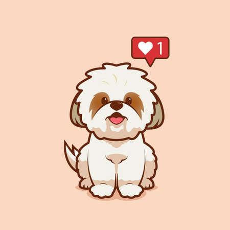 Cartoon illustration of shih tzu dog sitting with love icon. Vector illustration of shih tzu dog