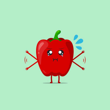 Red paprika character feeling annoyed isolated on a green background. Red paprika character emoticon illustration Vetores