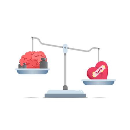Concept illustration of weighing tools with broken heart are heavier than a brain. isolated on a white background