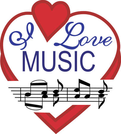Display a real love for music with this super cute design.  Perfect for apparel or wall print art. Banco de Imagens - 51203836