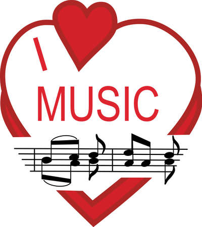 Display a real love for music with this super cute design.  Perfect for apparel or wall print art. Banco de Imagens - 51203838