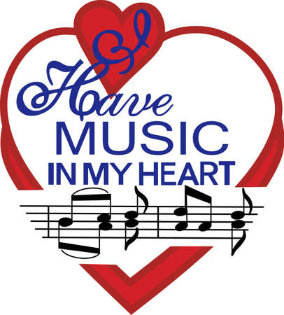 musical notation: Display a real love for music with this super cute design.  Perfect for apparel or wall print art.