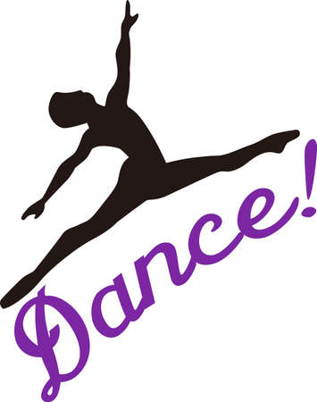gymnasts: This dancer is purely grace in motion.  Lovely on dance bags or room decoration for the little dancer. Illustration
