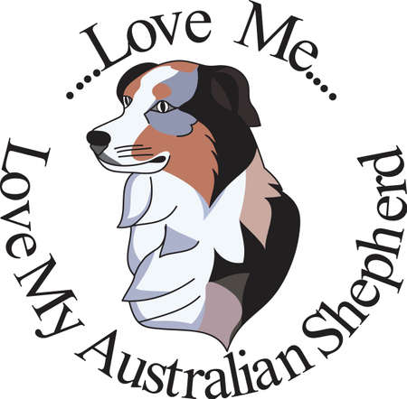 An artistic take on a favorite breed, the Australian Shepard.  We love dogs on anything from bags to apparel to dcor!  Always perfect. Ilustrace