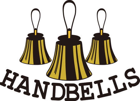 Handbells are example of everyone working together to create something amazing.  Create a special shirt for your director or handbell team members.  Add your group name for a personal touch. Иллюстрация