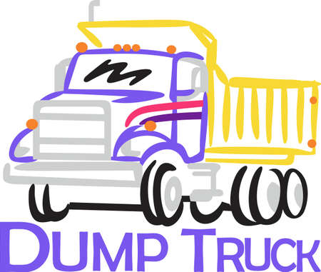 sure: Big dump trucks are a favorite for little boys gear.  Bright colorful outlines make this truck a sure favorite.