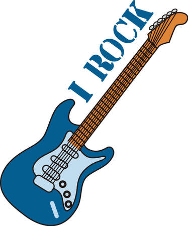 Make some music with this electric guitar.  Perfect for decorating for your favorite musician or creating musical themed tees! Фото со стока - 51204184