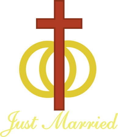 altar: Two rings and a cross come together to symbolize the Christian marriage.  Lovely to decorate an altar cloth for weddings or art for an invitation. Illustration