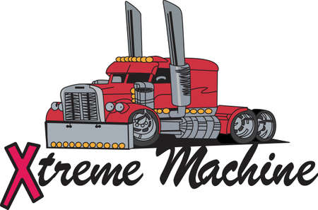 A bigger than big extreme truck is just what you need to create a special jacket for the big rig fan.  It goes so well on anything from jacket backs to shirt fronts.  Sure to be a favorite design. Zdjęcie Seryjne - 51204210