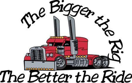 bigger: A bigger than big extreme truck is just what you need to create a special jacket for the big rig fan.  It goes so well on anything from jacket backs to shirt fronts.  Sure to be a favorite design.