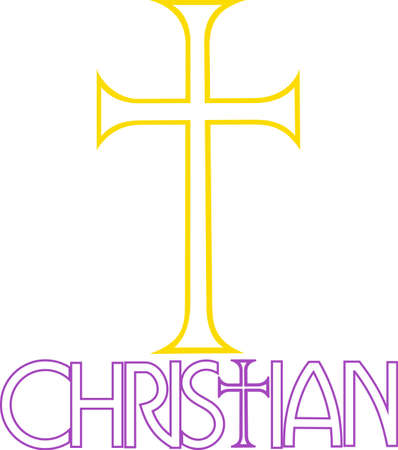 evangelical: This cross conveys the sacred message of Christianity.  Display your faith for all to see with this design on shirts and hats. Illustration