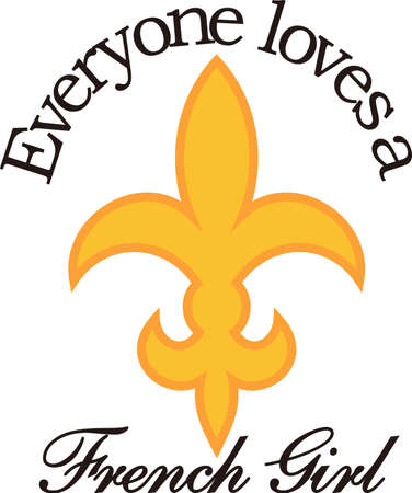 This lovely fleur de lis is a fun symbol with its stylized flair.  Display your special style with this design on apparel and travel bags.