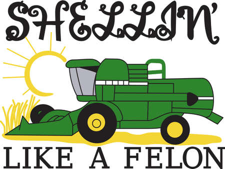 agriculture machinery: Farm livin the life for you  Then this is the design for you.  Proudly decorate bags, shirts, and even home dcor with our classic green combine.