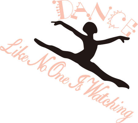 purely: This dancer is purely grace in motion.  Lovely on dance bags or room decoration for the little dancer. Illustration