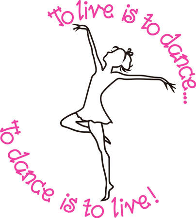 way up: This pretty dancer outline is a lovely way to spruce up a jacket for the dancer.  Great for bags too! Illustration