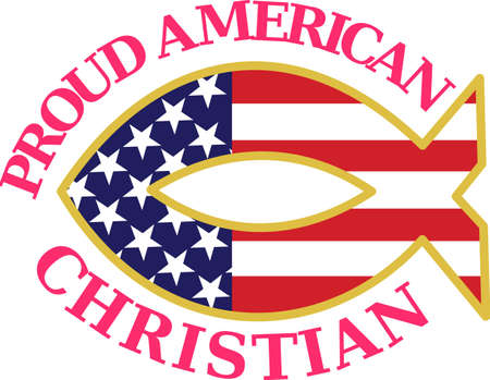 flair: A Christian fish with  patriotic flair makes a stunning statement.  Its a must for July 4 decorating in print or apparel.