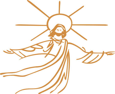 De glorieuze Verlosser in outline zorgt voor een prachtig kunstwerk. In combinatie met de Schrift of vers maak een perfecte Christian themed gift.