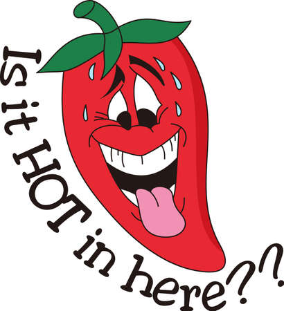 super hot: Our sweatin hot pepper is a fun decoration for the Tex-Mex cook.  Super cute on towels or napkins. Illustration