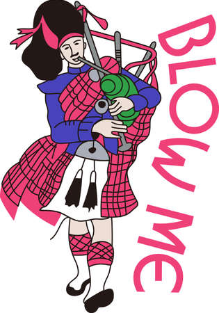 Scotland comes to life with this traditional bagpiper.  Try this on a travel bag or in print for a travel brochure. Ilustrace