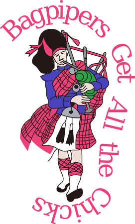 gaita: Scotland comes to life with this traditional bagpiper.  Try this on a travel bag or in print for a travel brochure. Vectores