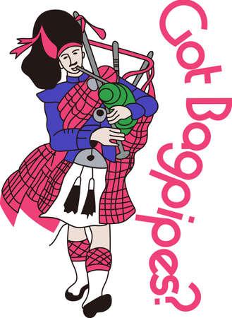 gaita: Escocia vuelve a la vida con este gaitero tradicional. Pruebe esto en una bolsa de viaje o en la impresión de un folleto de viaje. Vectores
