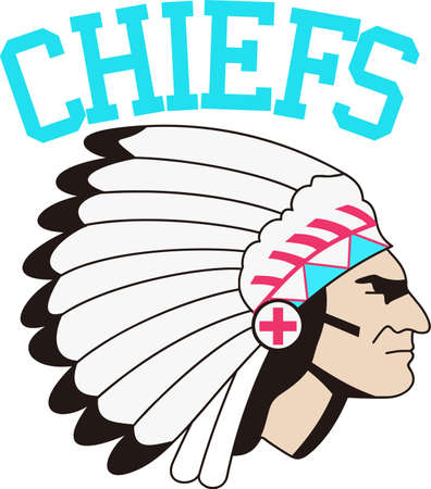 indian chief mascot: Our mascot creates an image of a mighty warrior.  What a fitting image to represent your team on their gear.