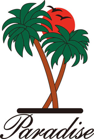 sunsets: Tropical breezes and palm tree sunsets - vacation time is the best time!  Add a bit of island charm to your vacation bags. Illustration