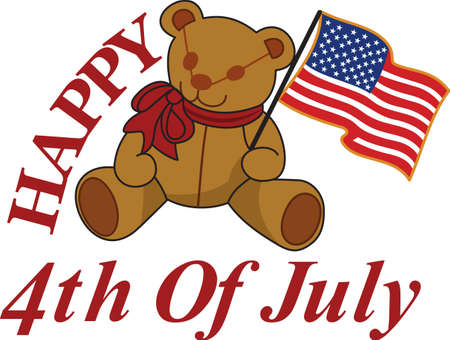 Keep it sweet and cuddly on July 4 with this flag waving bear!  Great tee shirt art for the little ones.
