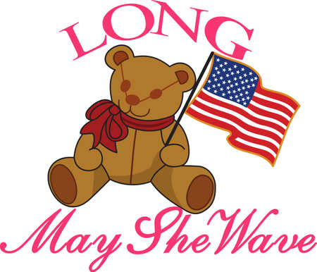 cuddly: Keep it sweet and cuddly on July 4 with this flag waving bear!  Great tee shirt art for the little ones.