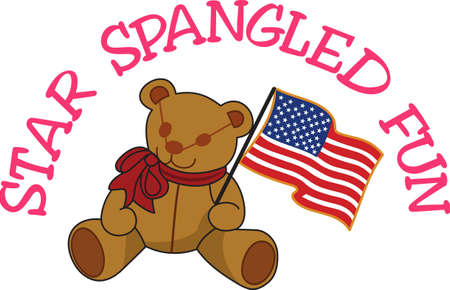 july 4: Keep it sweet and cuddly on July 4 with this flag waving bear!  Great tee shirt art for the little ones.