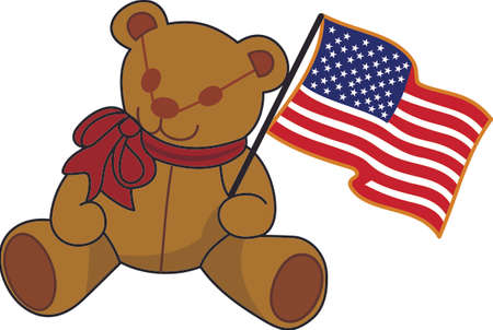 stuffed animal: Keep it sweet and cuddly on July 4 with this flag waving bear!  Great tee shirt art for the little ones.