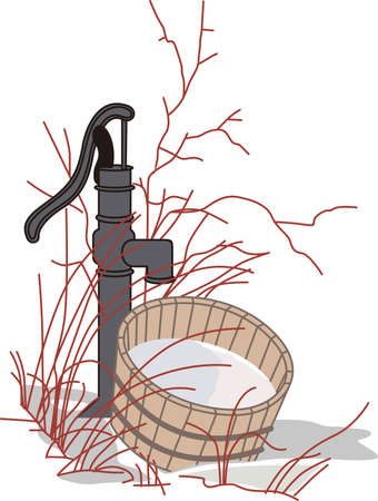 This nostalgic reflection of country life is such a lovely way to make something extraordinary.  This water pump is amazing and lovely on garden flags. Illustration