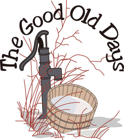 sprig: This nostalgic reflection of country life is such a lovely way to make something extraordinary.  This water pump is amazing and lovely on garden flags. Illustration